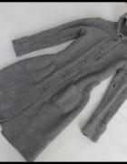 Długi sweter kardigan 100 procent LAMBWOOL wełna z jagniąt rozm...
