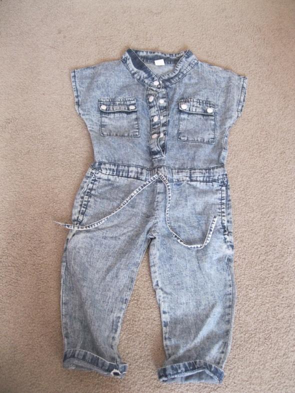 Nowy spodnie kombinezon jeans marmurkowy 86