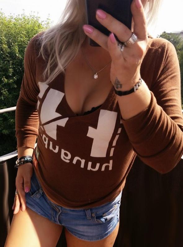 bluza brzowa z kapturem UK r S Adidas