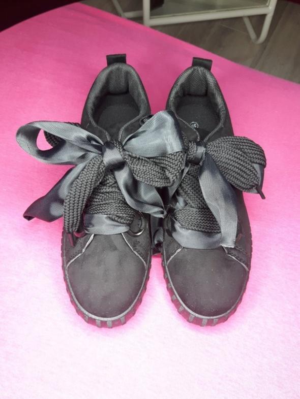 czarne buty kokardki ala puma by fenty