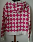 różowo biała bluza z kapturem w romby rozpinana S...