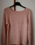 wełaniany różowy ciepły sweterek pudrowy róż...