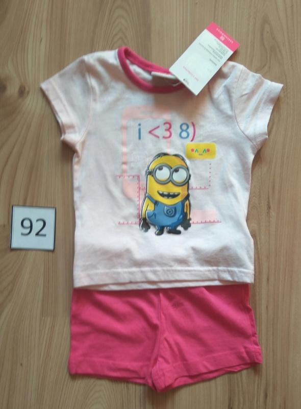 Nowa dziewczęca różowa piżama letnia z krótkim rękawem Minionek 92