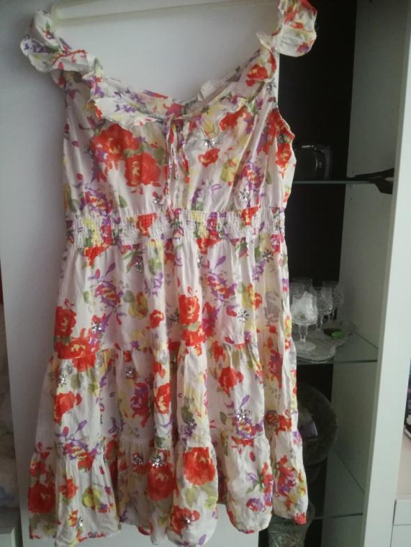 Clockhouse sukienka biała w kwiatki S...