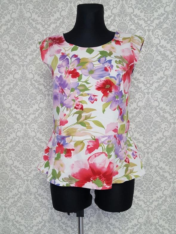 kolorowa bluzka z baskinką Lux