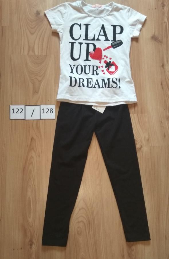 Bluzka biała szminka z krótkim rękawem i czarne leginsy getry 122 128