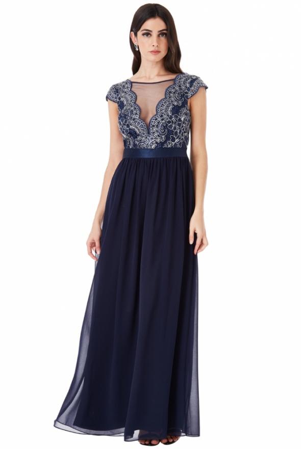 Granatowa szyfonowa długa sukienka na wesele z głębokim