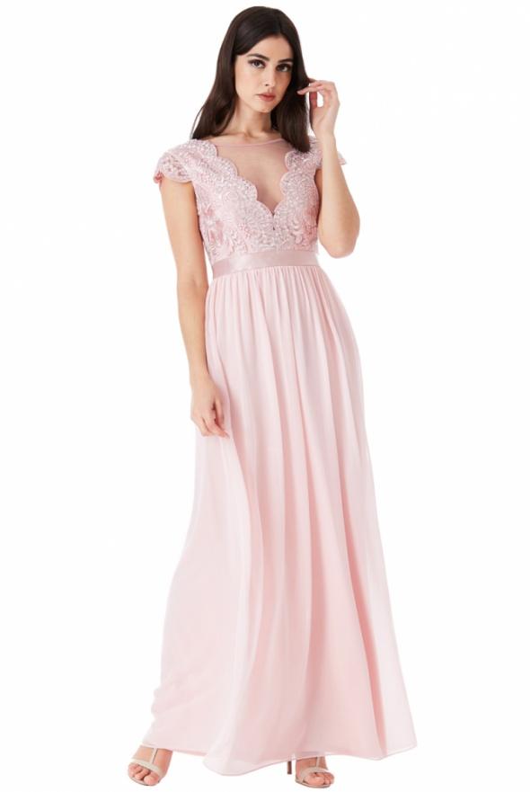 Pudrowa szyfonowa długa sukienka na wesele z głębokim