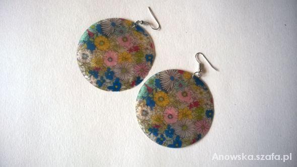 Kolczyki duże koła masa perłowa kwiaty...