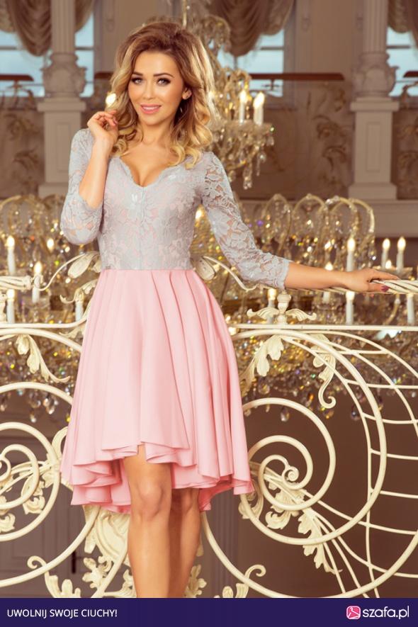 c985a5caef NICOLE sukienka asymetryczna koronka S M L XL XXL PASTELOWY RÓŻ SZARY
