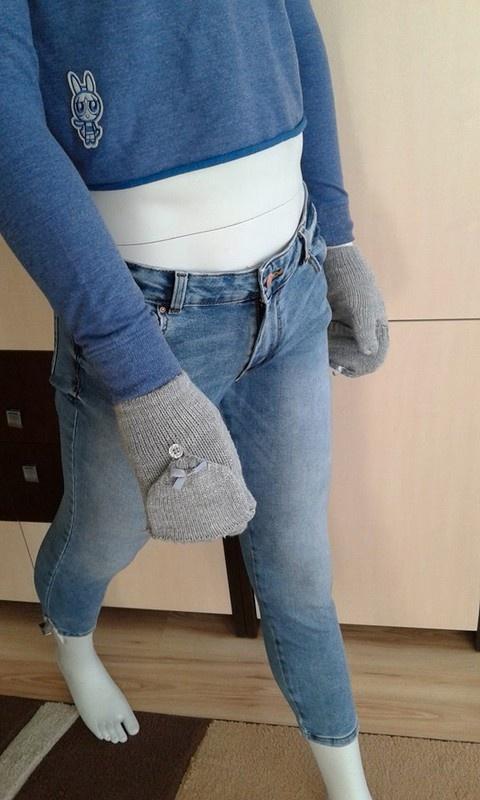 szare błyszczące rękawiczki house M