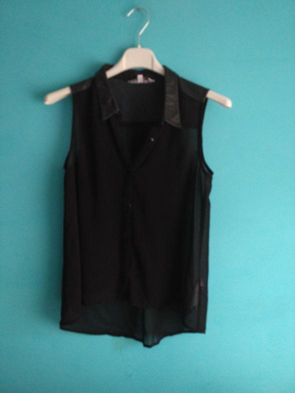 Czarna koszula bez rękawów ze skórzanymi wstawkami