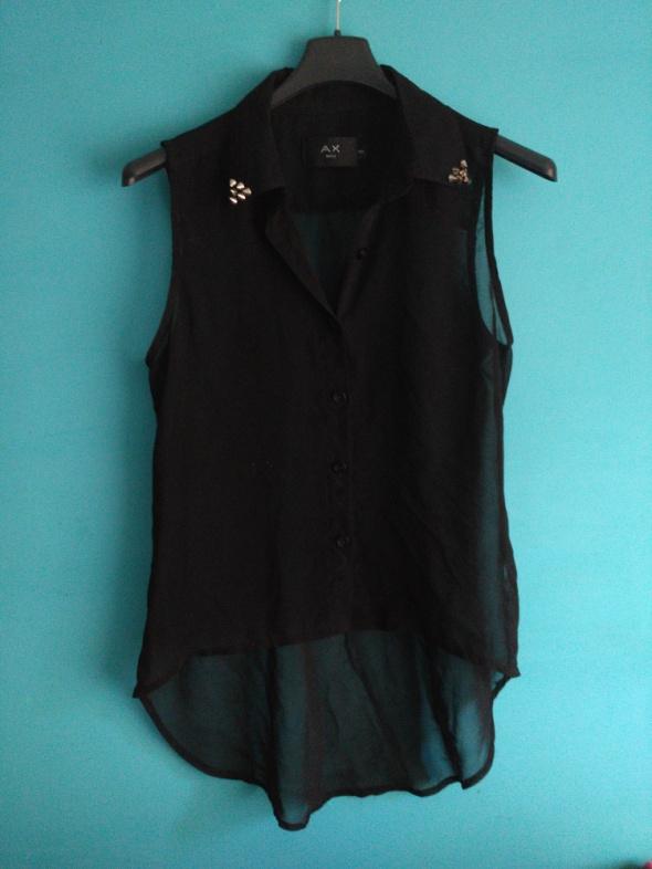 Czarna koszula bez rękawów z ćwiekami 36