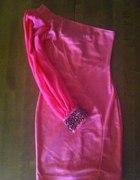 Koralowa sukienka ASOS bodycon szyfonowy rękaw...