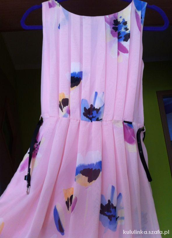 Kwiatowa sukienka SZYFON Floral z paskiem