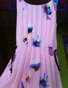 Kwiatowa sukienka SZYFON Floral z paskiem...