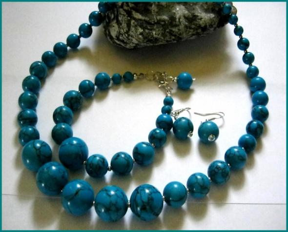 Niebieskie turkusy w srebrze zestaw biżuterii