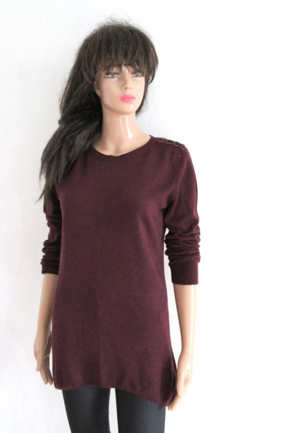 Swetry Bordowy długi sweterek r S
