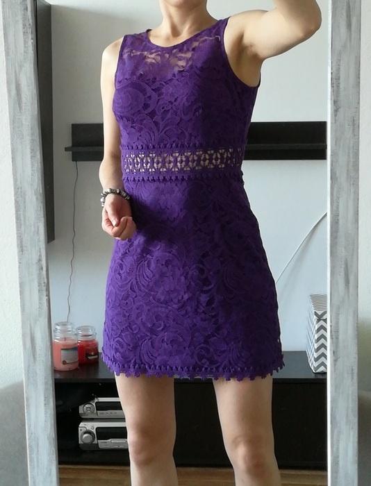 New Look fioletowa sukienka koronka S M...