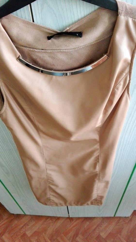 Tunika sukienka skóra brąz