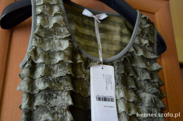 Nowa z metkami sukienka falbankowa militarna