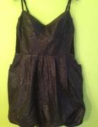 Next wężowa sukienka bombka granat z czernią mega