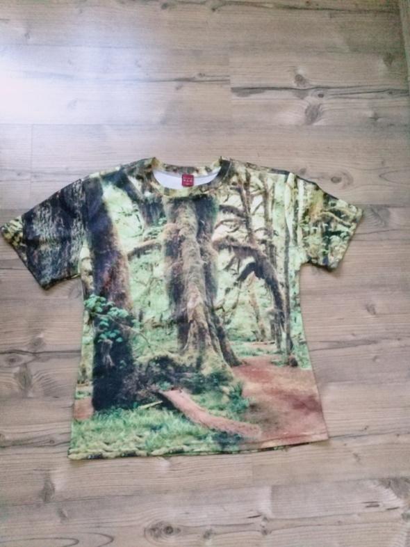 Nowa elastyczna męska koszulka las rozmiar M