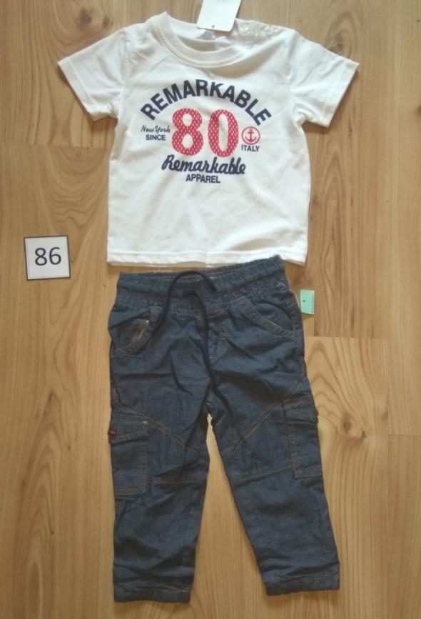 Nowy komplet chłopięcy biała bluzka z krótkim rękawem i bojówki 86