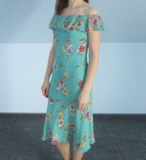 Jedwabna sukienka w kwiaty Ralph Lauren hiszpanka odkryte ramiona