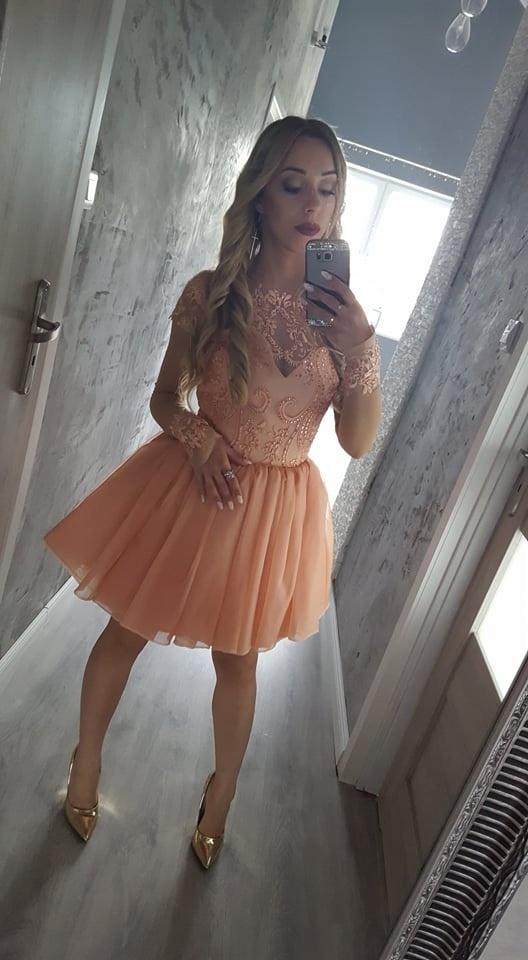 sukienka lou mia 36 brzoskwiniowa koronka
