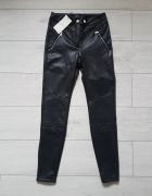 Bershka 38 M czarne skórzane spodnie rurki biker ekoskóra...