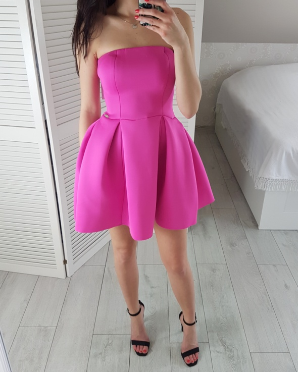 S 36 Różowa fuksjowa sukienka rozkloszowana elegancka księżniczka nowa