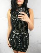 Sukienka Czarna w złote dżety rozmiar S...