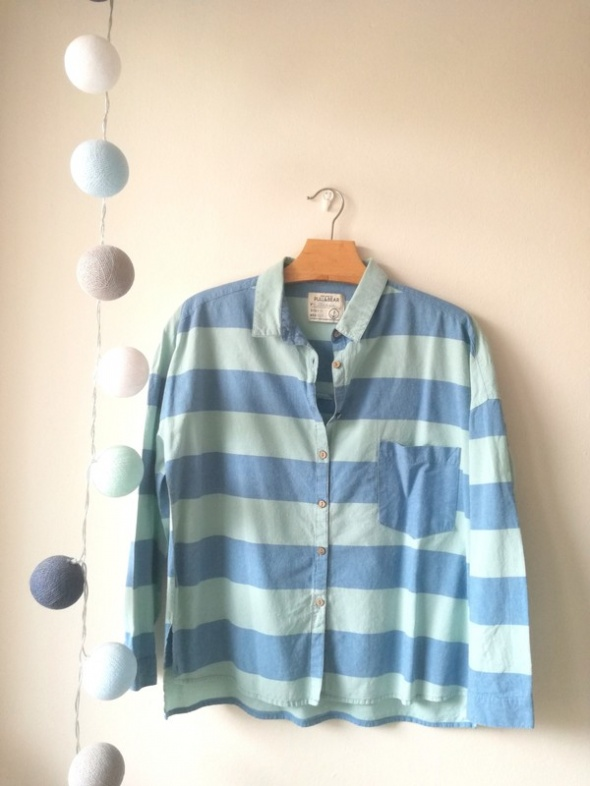 Koszula w paski Pull&Bear błękitna niebieska...