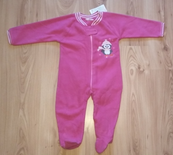 Nowy różowy polarowy kombinezon piżamka dziewczęca