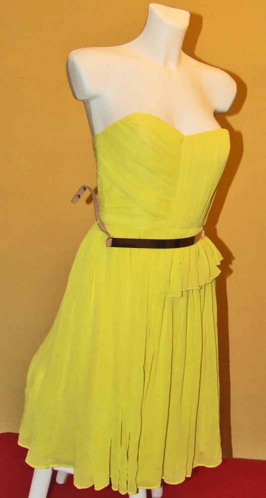 Suknie i sukienki Żółta sukienka studniówka S 36 Mango tjulowa