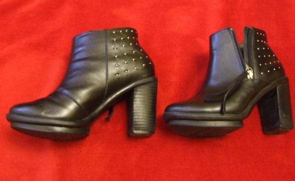 Botki Czarne buty skórzane na obcasie botki 37 ćwieki
