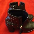 Czarne buty skórzane na obcasie botki 37 ćwieki
