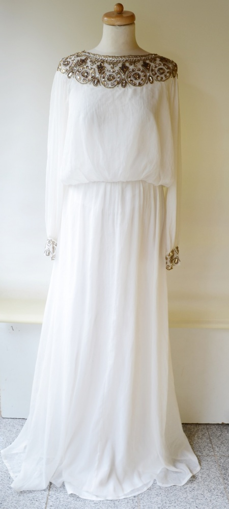 6e29cb6bb4 Suknie i sukienki Sukienka Long Biała L 40 Boho NLY Eve Kryształki Długa