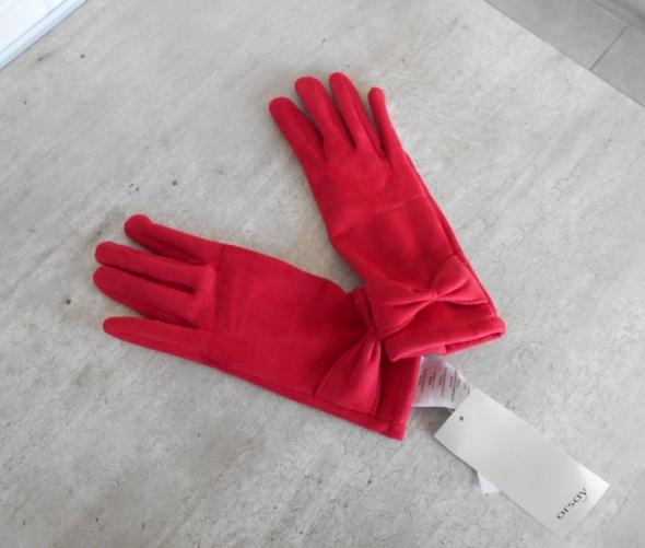 Orsay nowe czerwone rękawiczki kokardy