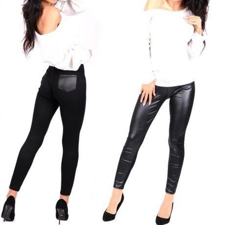czarne legginsy skorka kieszenie