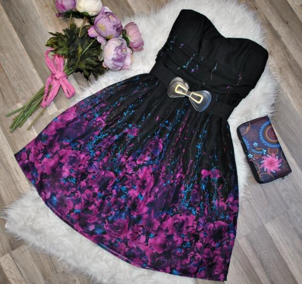 fb39b432d0 Orsay Czarna Sukienka Gorsetowa Szyfonowa Fioletowe Kwiaty Tiul Koktajlowa  Gothic Fantasy 36 S