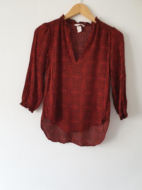Bluzka koszulowa h&m ceglasto czarna 38