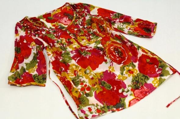 Bawełniana tunika w kwiaty czerwone róże...