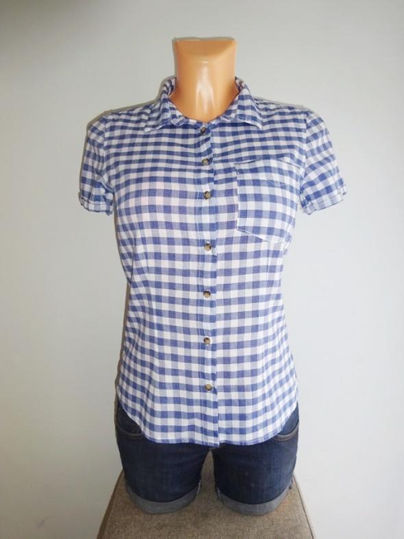 H&M niebieska koszula w kratkę krótki rękaw 36 S