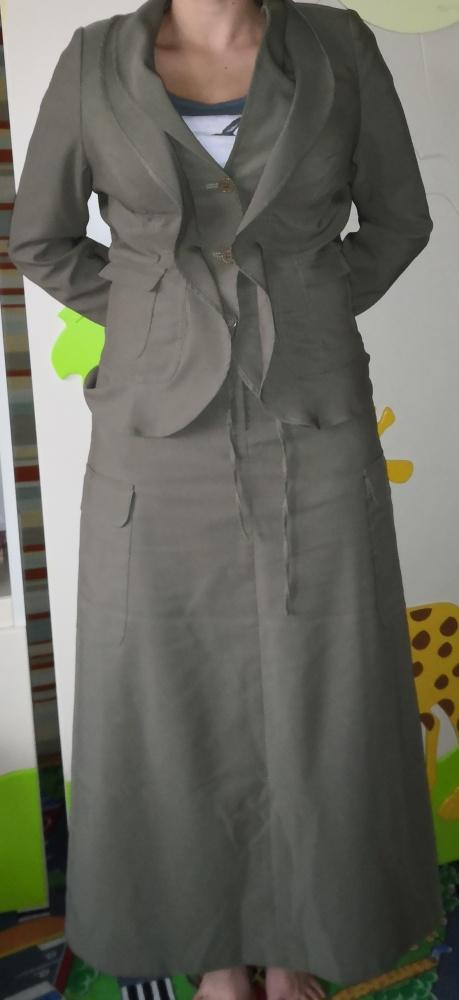 Komplet żakiet spódnica maxi oliwkowy zielony