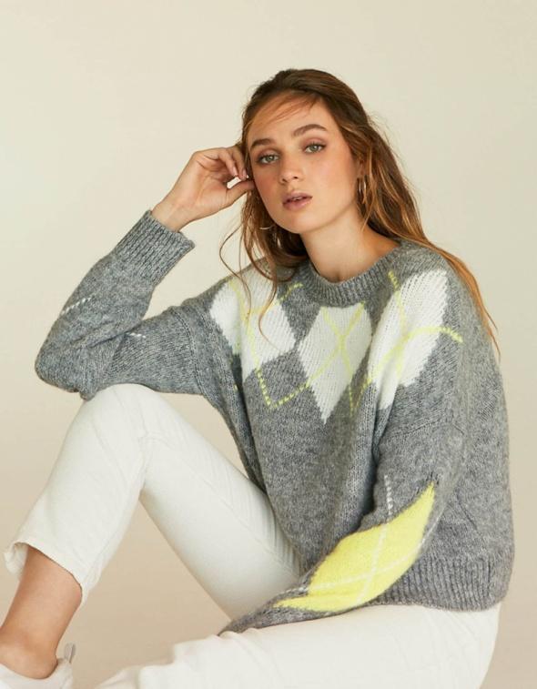 Swetry Nowy popielaty sweter z modnym neonowym wzorem Stradivarius M L
