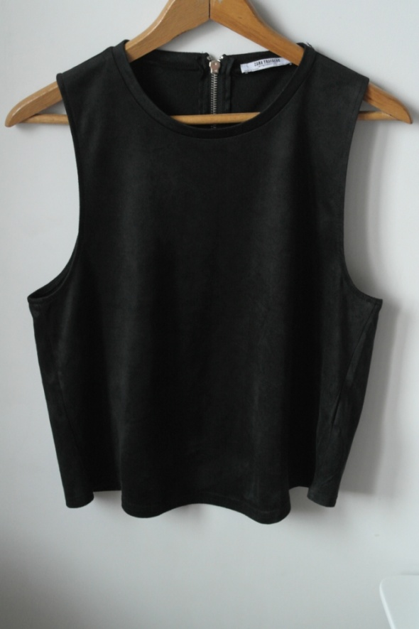 Bluzki Zara nowa krótka zamszowa bluzka na zamek r L