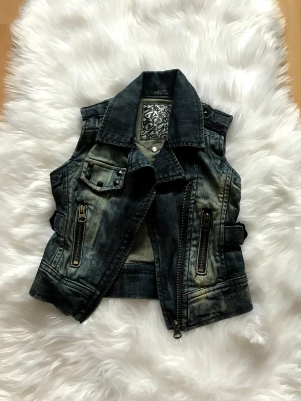 Jeansowa kamizelka z dżetami