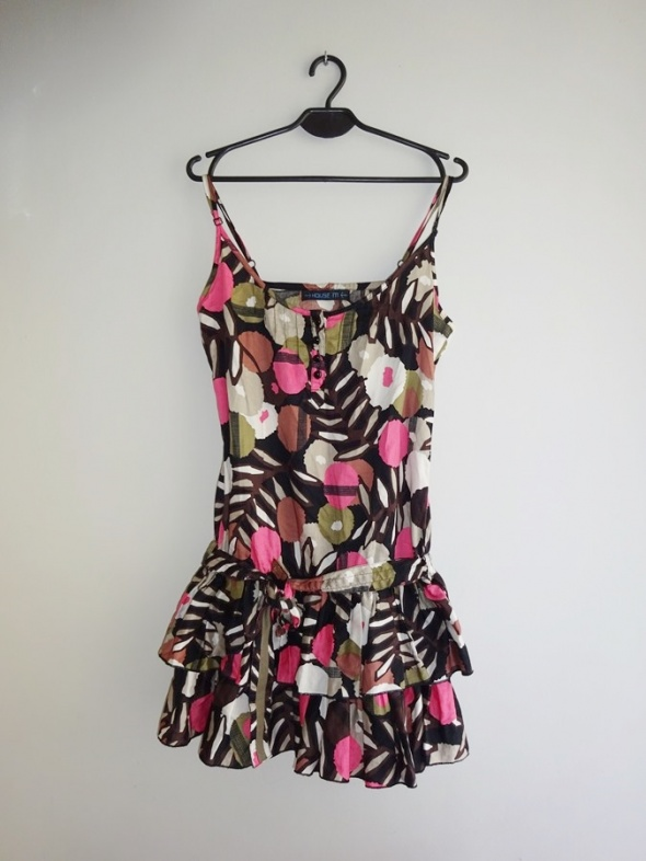 House letnia kolorowa wzorzysta sukienka falbany 36 S